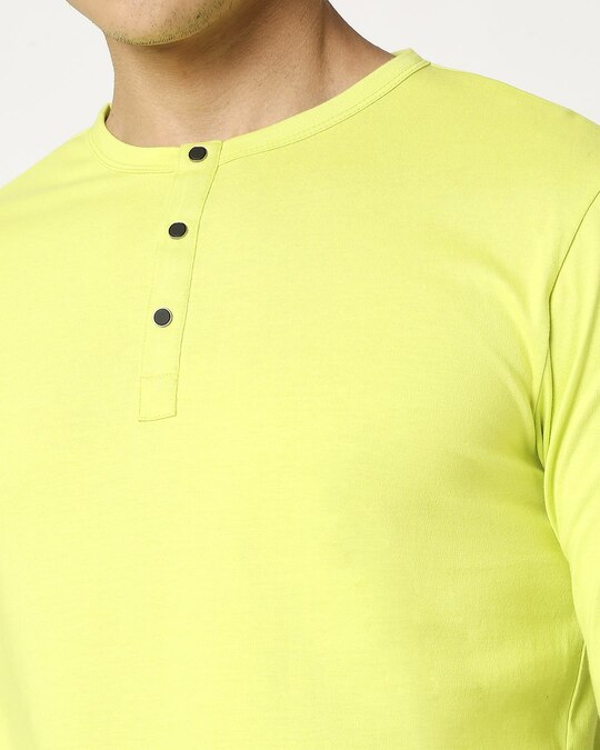 Shop Arcade Green Henley Full Sleeve T-Shirt