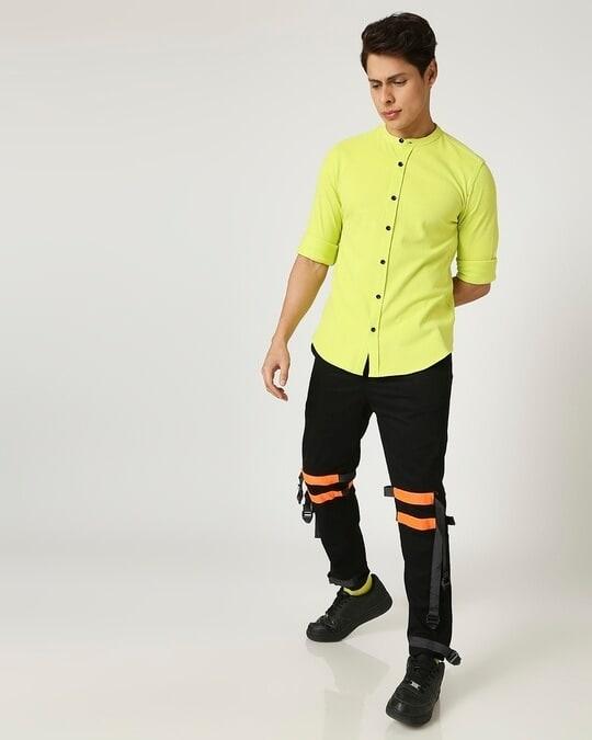 Shop Arcade Green Mandarin Collor Pique Shirt-Full