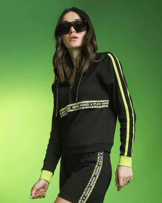 Shop Arcade Green Hoodie Co-ords (Top & Bottom Set)-Front