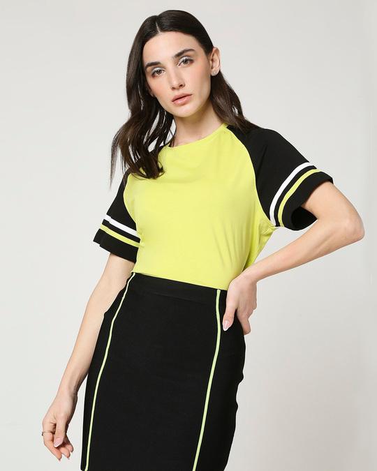Shop Arcade Green Raglan Short Top T-Shirt-Front