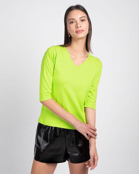 Shop Neon Green 3/4 V Neck T-Shirt-Front