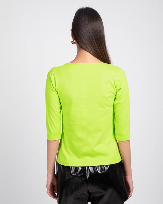 Shop Neon Green 3/4 V Neck T-Shirt-Full