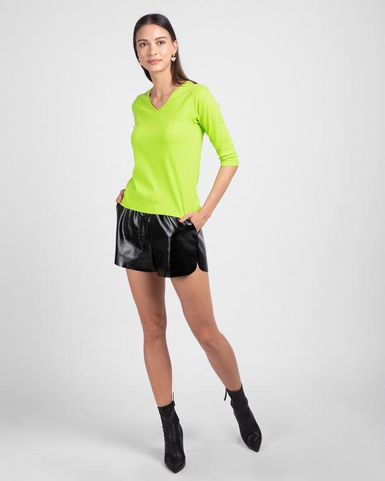 Shop Neon Green 3/4 V Neck T-Shirt