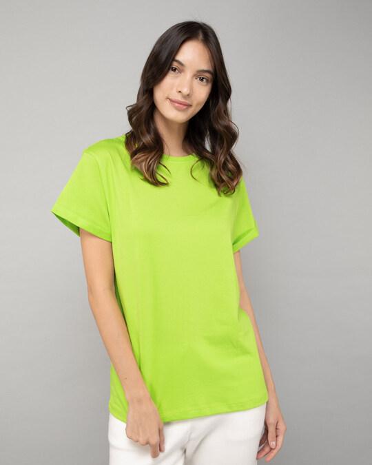 Shop Neon Green  Boyfriend T-Shirt-Front