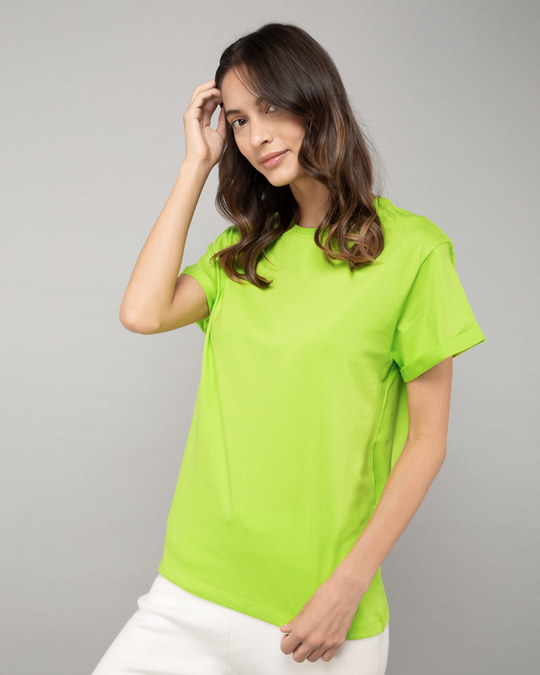 Shop Neon Green Boyfriend T-Shirt-Back