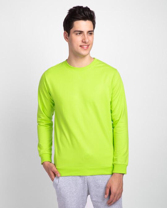 Shop Neon Green Fleece Light Sweatshirt-Front