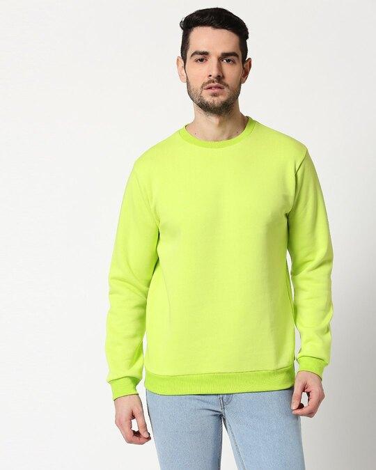 Shop Neon Green Fleece Sweater-Back