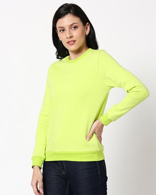 Shop Neon Green Fleece Sweater-Design
