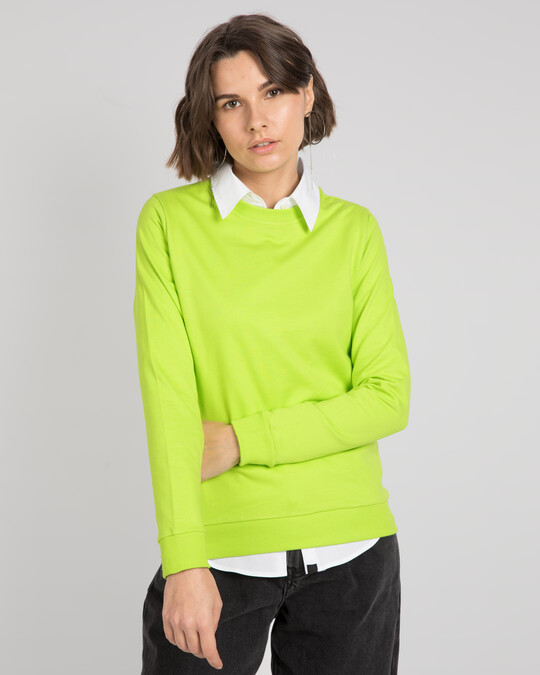 Shop Neon Green Fleece Light Sweatshirt-Front
