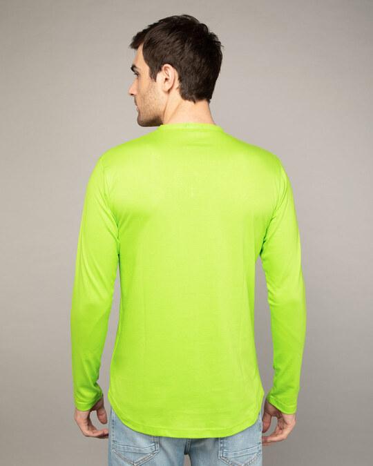 Shop Neon Green Full Sleeve Henley T-Shirt-Design