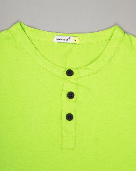 Shop Neon Green Full Sleeve Henley T-Shirt