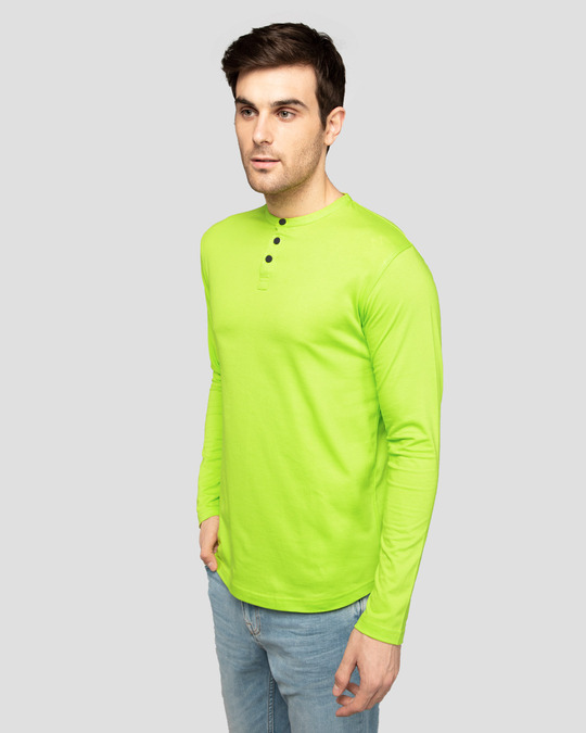 Shop Neon Green Full Sleeve Henley T-Shirt-Back