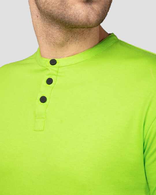 Shop Neon Green Full Sleeve Henley T-Shirt