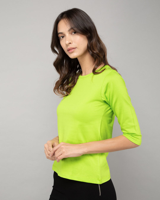 Shop Neon Green Round Neck 3/4th Sleeve T-Shirt-Back