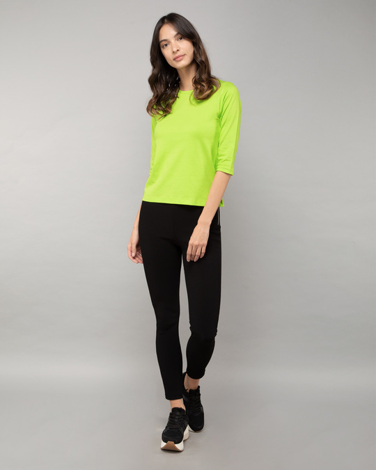 Shop Neon Green Round Neck 3/4th Sleeve T-Shirt-Full