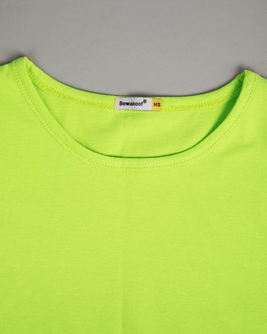 Shop Neon Green Round Neck 3/4th Sleeve T-Shirt