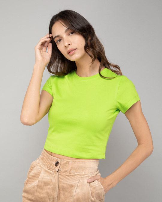 Shop Neon Green Crop Top T-Shirt-Front