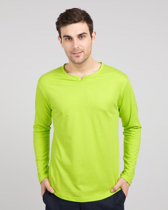 Shop Neon Green Slit Neck Full Sleeve Henley T-Shirt-Front
