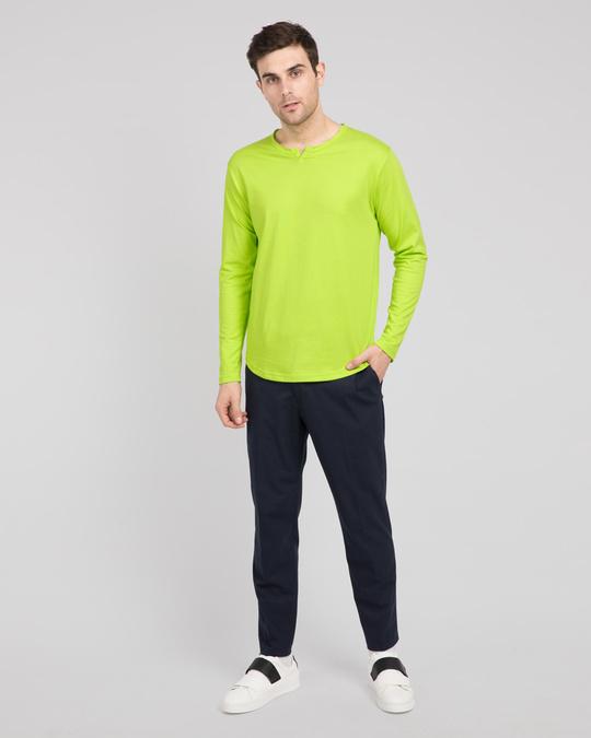 Shop Neon Green Slit Neck Full Sleeve Henley T-Shirt-Full