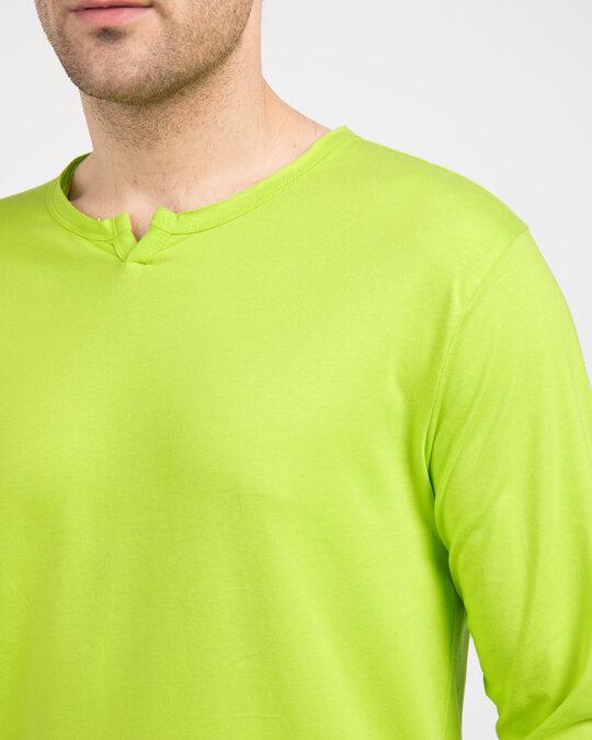 Shop Neon Green Slit Neck Full Sleeve Henley T-Shirt