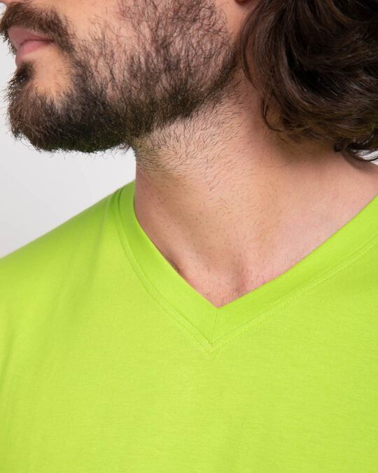 Shop Neon Green V-Neck T-Shirt