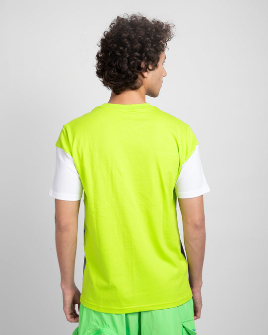 Shop Neon Green-White-Meteor Grey 90's Vibe Panel T-Shirt-Design