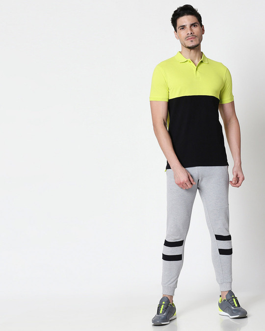 Shop Neon Lime-Black Two Block Polo T-Shirt-Full