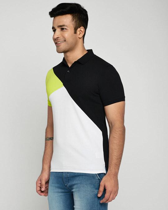 Shop Neon-Lime-Black-White Asymmetric Polo T-Shirt-Back