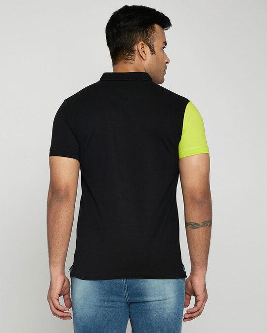 Shop Neon-Lime-Black-White Asymmetric Polo T-Shirt-Design