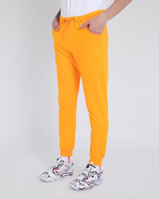 Shop Neon Orange Casual Jogger Pants-Back