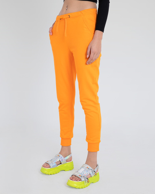 Shop Neon Orange Casual Jogger Pants-Back