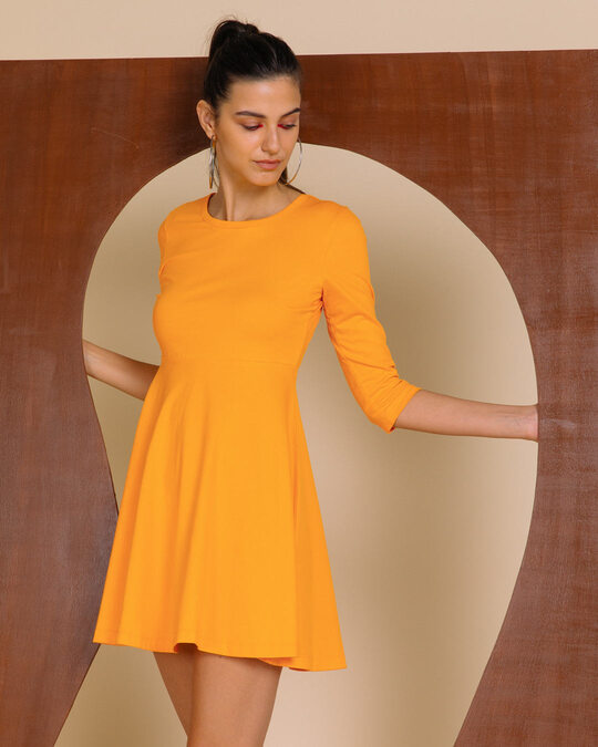 Shop Neon Orange Flared Dress-Front