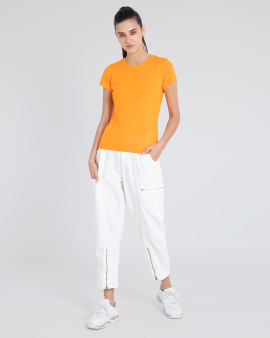Shop Neon Orange Half Sleeve T-Shirt-Full