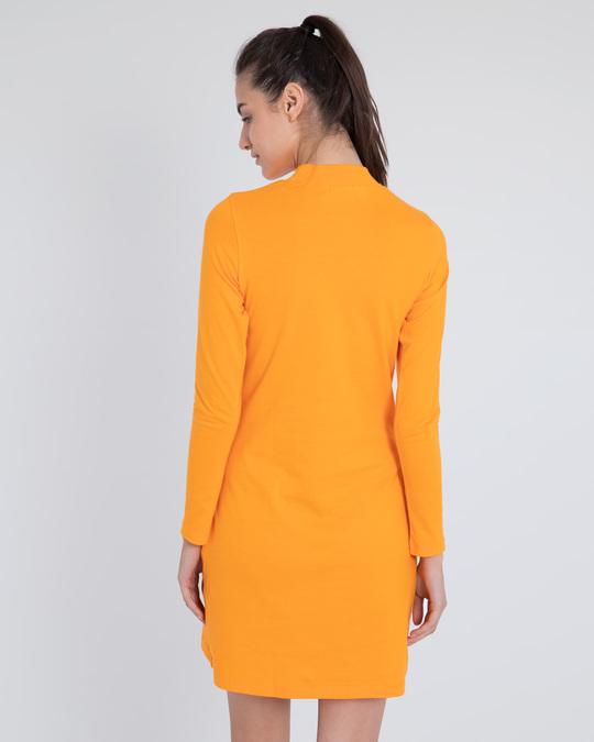 Shop Neon Orange High Neck Pocket Dress-Design