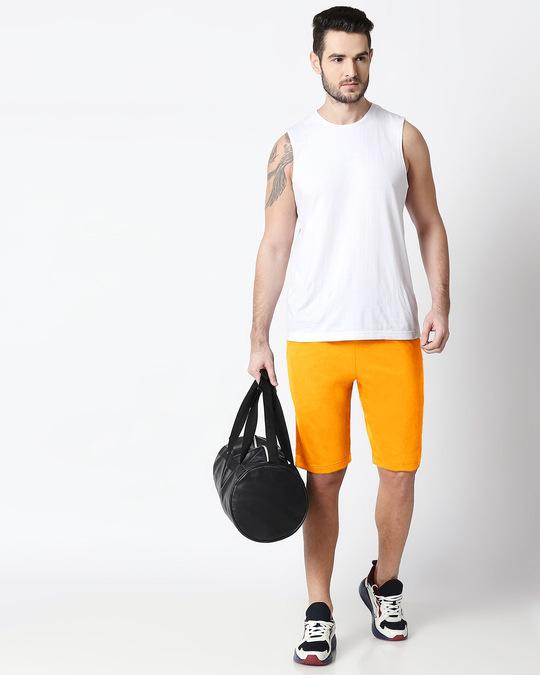 Shop Neon Orange Men's Casual Shorts-Full