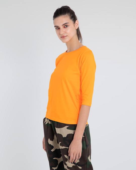 Shop Neon Orange Round Neck 3/4th Sleeve T-Shirt-Back