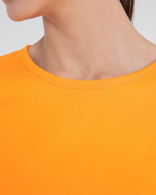 Shop Neon Orange Round Neck 3/4th Sleeve T-Shirt