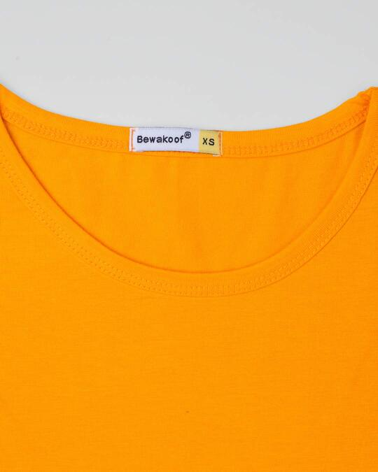 Shop Neon Orange Round Neck 3/4th Sleeve T-Shirt