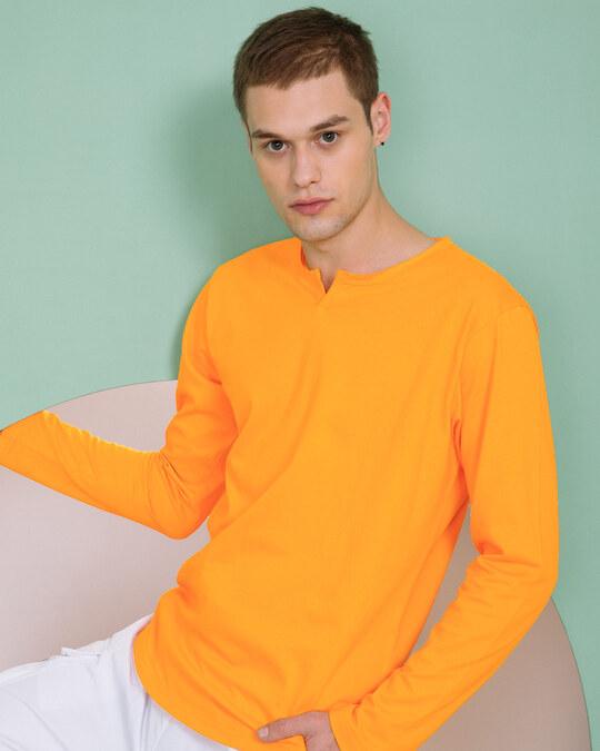 Shop Neon Orange Slit Neck Full Sleeve Henley T-shirt-Front