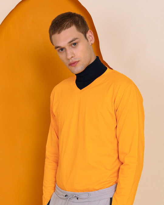 Shop Neon Orange V-Neck Full Sleeve T-Shirt-Front