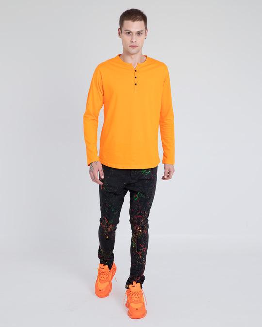 Shop Neon Orange V-Neck Henley T-Shirt-Full