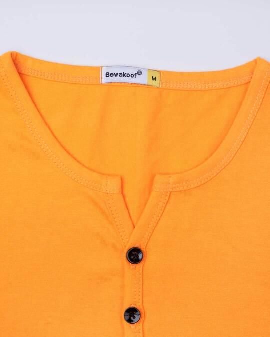 Shop Neon Orange V-Neck Henley T-Shirt
