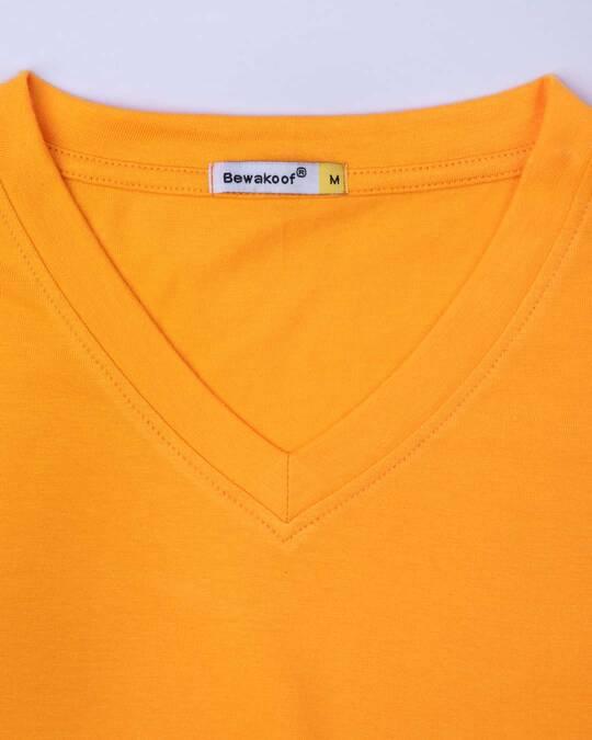Shop Neon Orange V-Neck T-Shirt