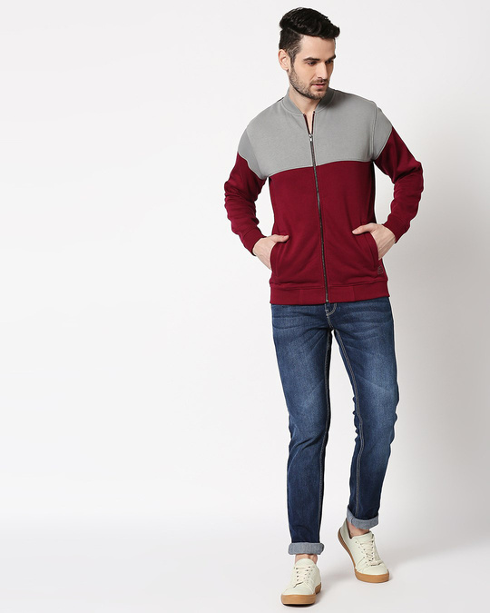 Shop Neutral Grey - Red Plum Panel Zipper Bomber Jacket