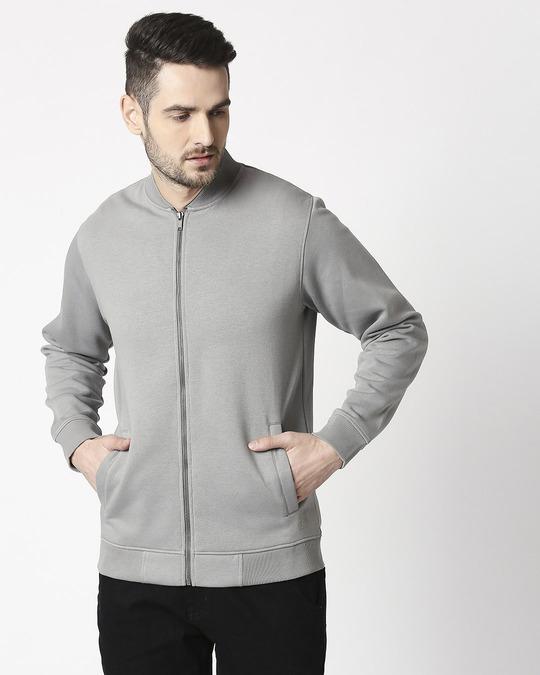 Shop Neutral Grey Zipper Bomber Jacket-Back