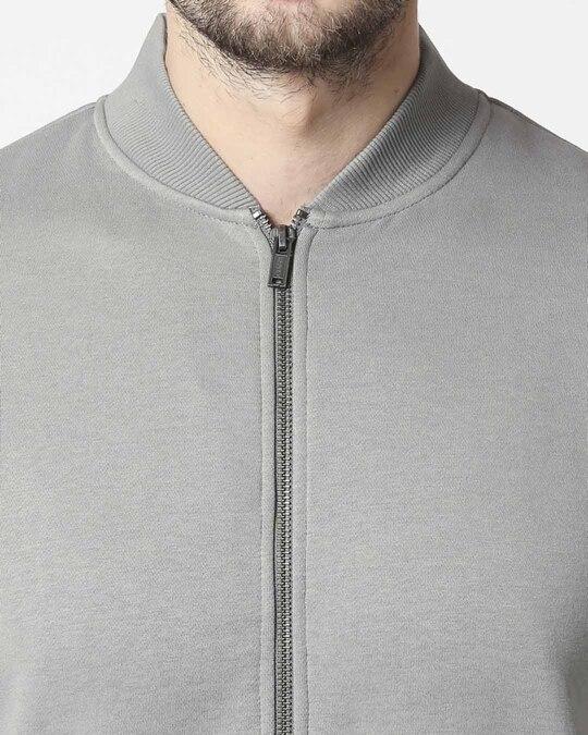 Shop Neutral Grey Zipper Bomber Jacket