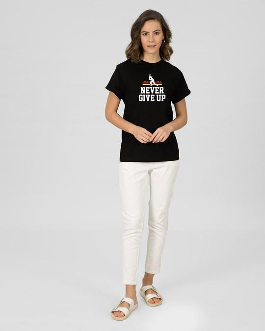 Shop Never Give Up Cricket Boyfriend T-Shirt Black-Full