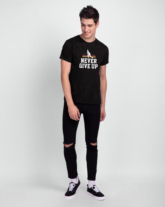 Shop Never Give Up Cricket  Half Sleeve T-Shirt Black-Design