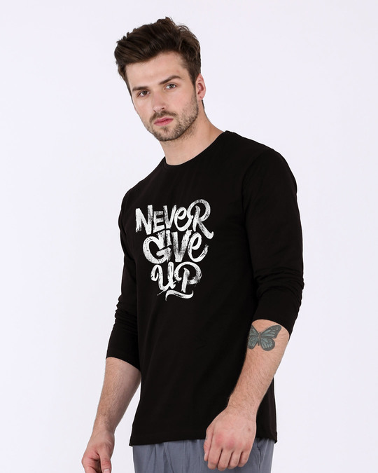 Shop Never Give Up Full Sleeve T-Shirt-Back