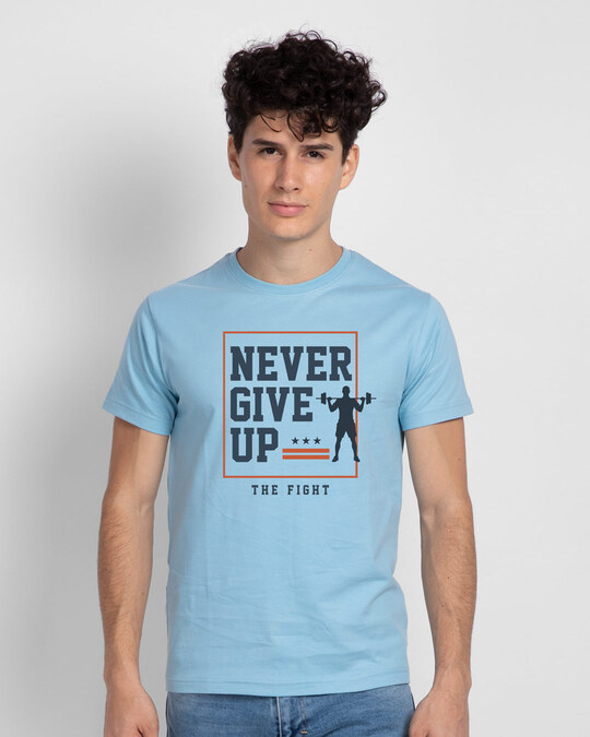Shop Never Give Up! Half Sleeve T-Shirt-Front
